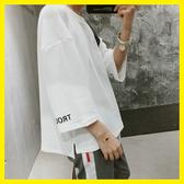 中大碼T恤 2019夏季新款短袖t恤男士刺繡七分袖學生五分袖韓版寬鬆上衣服潮