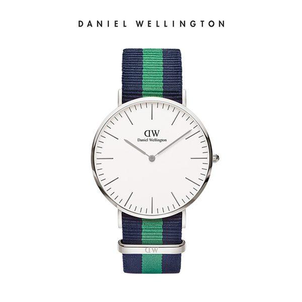 Daniel Wellington DW 手錶 40mm銀框 Classic 經典藍綠織紋錶帶