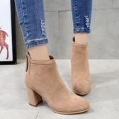 馬丁靴女2018新款秋冬女鞋高跟裸靴粗跟靴子短靴女後拉鏈單靴潮【全館上新】