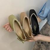 淺口鞋平底方頭女鞋時尚百搭一腳蹬軟底蝴蝶結女鞋子【愛麗小鋪】