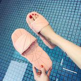 硬底拖鞋女夏室內防滑洗澡個性韓國時尚簡約家居家用塑料浴室涼拖   初見居家