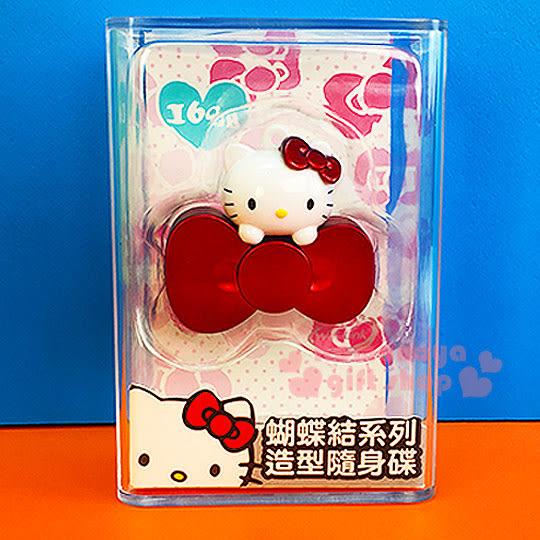 〔小禮堂〕Hello Kitty 造型隨身碟《紅.大臉.蝴蝶結.16G》精美透明盒裝 4712389-89860