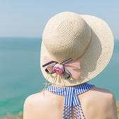 遮陽帽仙女款軟妹帽子女夏天百搭草帽防曬遮陽帽海邊沙灘帽