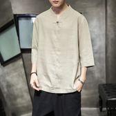 僧服 中國風亞麻短袖男潮牌復古風中式唐裝漢服中袖上衣棉麻胖子襯衫男 3色M-5XL