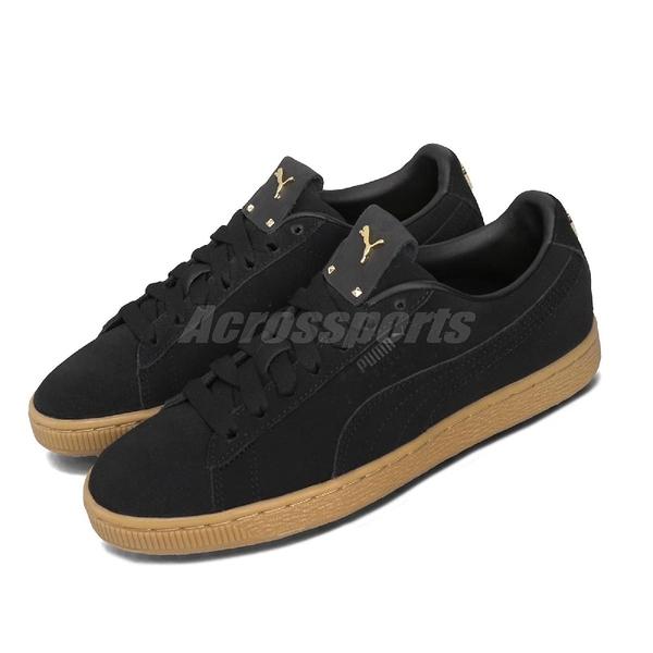 Puma 休閒鞋 Suede Premium Logo Wns 黑 金 女鞋 麂皮 金標 運動鞋 【ACS】 36995501