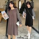 (現貨+預購FUWAFUWA)-加大尺碼碎花拼接休閒長袖洋裝