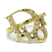 Dior 迪奧 鑲水鑽金色Logo戒指【二手名牌 BRAND OFF】