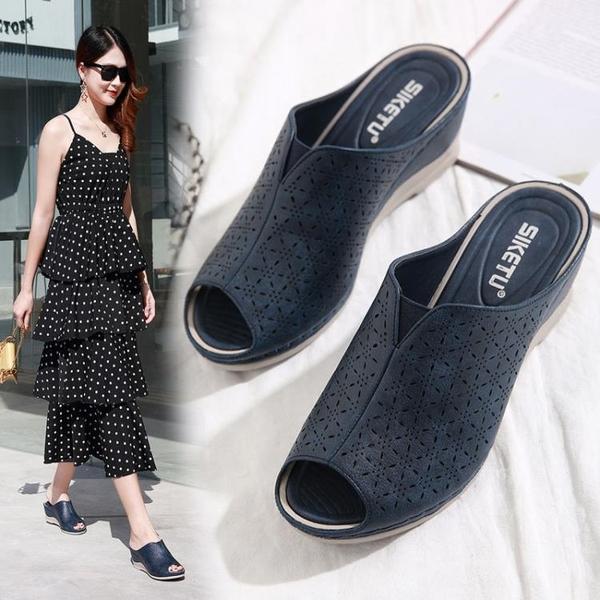 厚底拖鞋 涼鞋女夏新款百搭半包波西米亞魚嘴鞋坡跟中跟軟底厚底高跟涼拖鞋