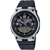 CASIO 都會個性地圖紋雙顯腕錶(膠帶/黑面)_AW-80-1A2【屈臣氏】