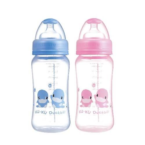 【奇買親子購物網】└新上市┐酷咕鴨KU.KU. 晶鑽PP寬口奶瓶320ml(藍/粉)