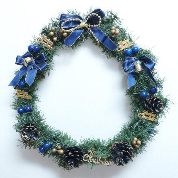 11吋可愛蝴蝶結聖誕花圈(藍銀色系)(台灣手工組裝出貨)