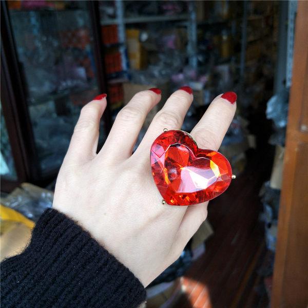 潮人日韓版學生歐美夸張復古紅色大寶石個性開口愛心食指戒指環女 IV3163 【大尺码女王】
