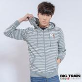 BIG TRAIN   男版條紋連帽外套-男-麻灰-B3018783