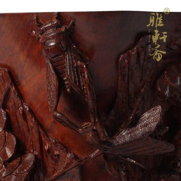 [超豐國際]雅軒齋 酸枝木雕刻擺件紅木工藝品 酸枝木螳螂捕蟬1入