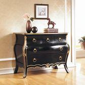 【水晶晶家具/傢俱首選】 JF8001-3帝國3.5呎頂級桃花心實木法式黑金色五抽櫃