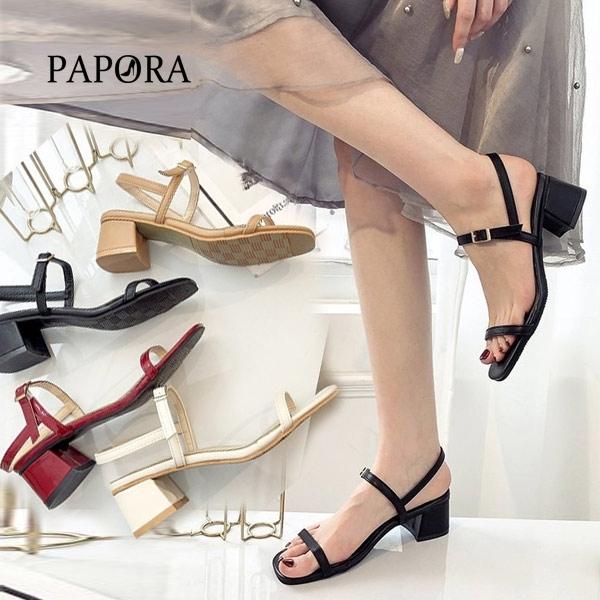 PAPORA時尚細版一字粗跟涼鞋KK7373黑/米/卡其