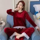 睡衣套裝 睡衣女冬季金絲絨韓版學生保暖加厚女士秋冬天兩件套裝大碼家居服 維多原創