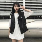皮馬甲女時尚皮衣潮 韓版寬鬆無袖pu皮機車外套春 拉鏈   蜜拉貝爾