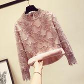 新款秋季很仙的上衣蕾絲打底小衫女洋氣秋冬加絨加厚顯瘦    MOON衣櫥