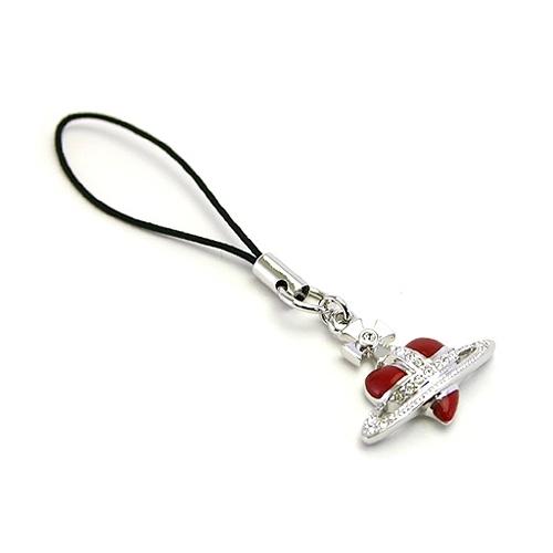 Vivienne Westwood 經典ORB愛心行星水晶吊飾(紅色)910610