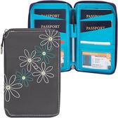 《TRAVELON》RFID七瓣花拉鍊防護證件護照夾(灰)