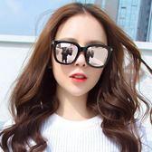 新款復古圓臉大框方形黑超墨鏡女韓版潮流街拍網紅偏光太陽鏡  卡布奇諾