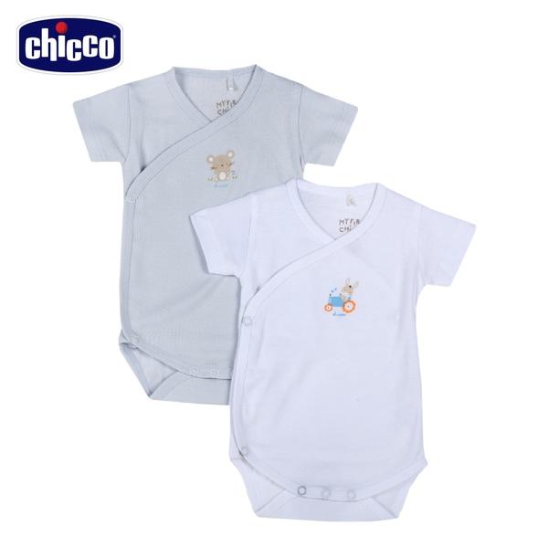 chicco-粉彩-短袖前側開連身衣二入(粉藍)