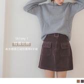 《CA1826-》高含棉燈芯絨造型口袋短裙-附腰帶 OB嚴選