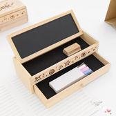 多功能簡約創意學生木質文具盒 黑板雙層鉛筆盒 男女學生兒童禮物 聖誕交換禮物