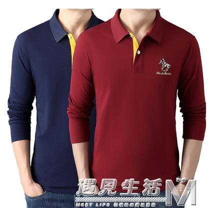 秋季新款品牌長袖T恤 男翻領寬鬆純棉時尚潮牌保羅POLO衫上衣 雙十二全館免運