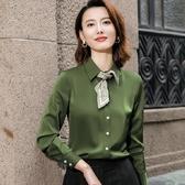 橄欖綠淺粉淺藍翻領長袖襯衫(不含領巾)[20X251-PF]小三衣藏