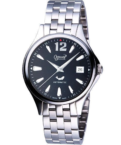 Ogival 愛其華 經典時刻自動上鍊機械腕錶-黑 829-24AGS