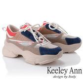 ★2019春夏★Keeley Ann輕運動潮流 歐美風多色拼接軟墊休閒鞋(藍色) -Ann系列