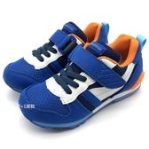 《7+1童鞋》日本月星   MOONSTAR 魔鬼氈  透氣  機能  運動鞋  C491  藍色