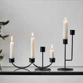 北歐ins燭光晚餐道具金色燭台擺件 蠟燭架輕奢浪漫餐桌蠟燭台家用 小明同學