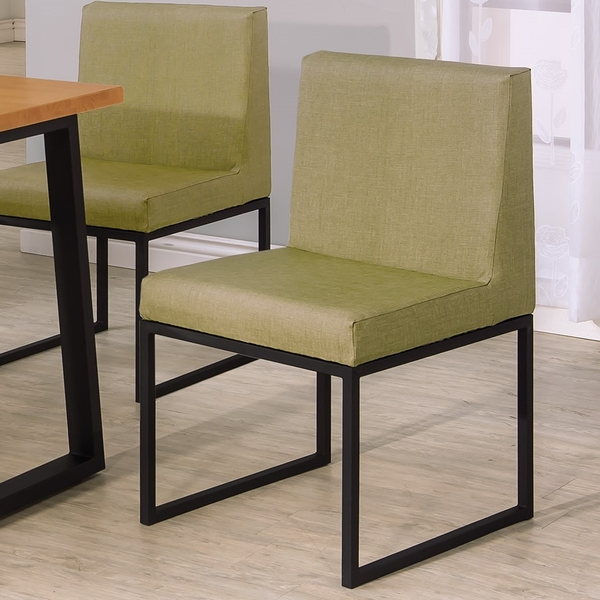 OB004-威爾斯黑腳亞麻紋綠皮餐椅(19HY2/B434-03)【DD House】