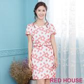 【RED HOUSE 蕾赫斯】花朵刺繡蝴蝶結洋裝(紅色)
