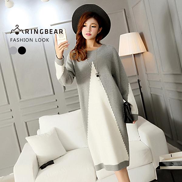 連身裙--優雅氣質時尚幾何羅紋圓領織紋貼身魚尾針織毛衣裙(黑.灰XL-3L)-A327眼圈熊中大尺碼