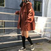 連帽抽繩中長款風衣女秋冬新款韓版百搭寬鬆加厚bf風工裝開襟外套
