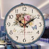 大號餐廳掛鐘錶客廳歐式田園風靜音時鐘創意藝術裝飾壁鐘現代簡約    韓小姐