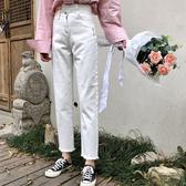 牛仔褲女春夏新款正韓高腰顯瘦須邊直筒褲學生【免運】