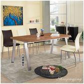 【水晶晶家具/傢俱首選】優利160cm不鏽鋼木面餐桌~~餐椅需另購 ZX8875-3