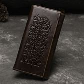油蠟皮皮夾(長夾)-三折大容量復古壓花男錢包4色73qs5[時尚巴黎]