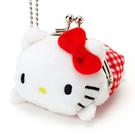 【震撼精品百貨】Hello Kitty 凱蒂貓~HELLO KITTY趴趴玩偶造型珠扣式迷你零錢包附鍊(格子草莓)