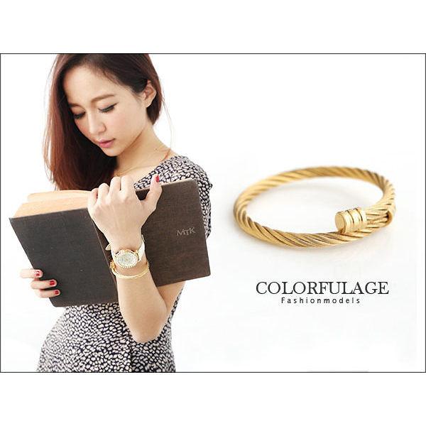剛柔兼具 奢華金色鋼索手環 華麗經典設計【NA221】具有抗過敏.氧化特色