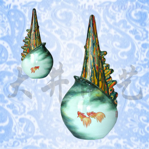 陶藝擺設禮物陶瓷工藝品球貝*自由花瓶裝飾品擺件