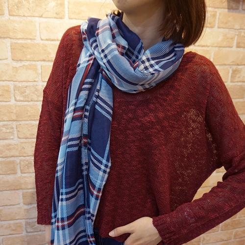 【Lus.G】經典雙色斜直紋圍巾-藍/黑/淺藍