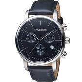 瑞士WENGER Urban都會系列俐落美學三眼指針腕錶 01.1743.102