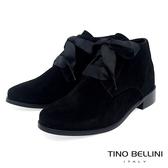Tino Bellini 原色時尚拼接緞帶綁帶短靴 _ 黑 FS8503
