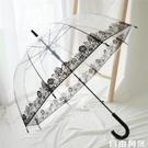 沛欣雨傘女 夏天復古城市玫瑰花黑邊透明傘半自動小清新長柄傘 自由角落